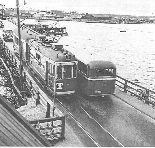Kulosaaren spåralinja. Tram to Kulosaari, Helsinki, Finland