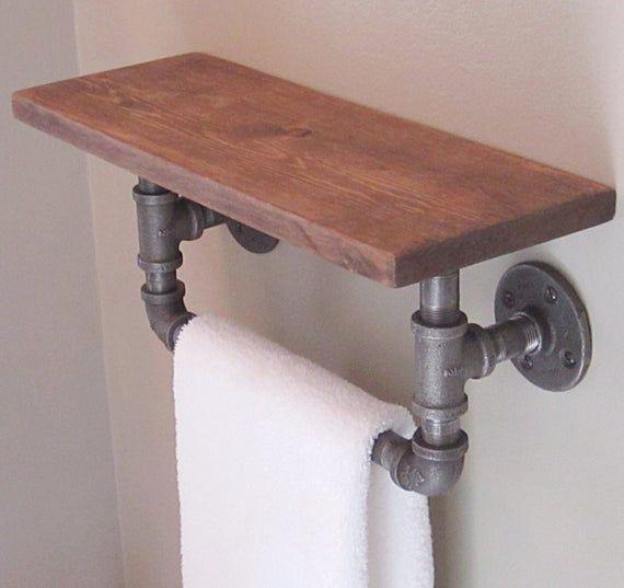 Industrie Rohr Hand Handtuchhalter mit Holz Regal