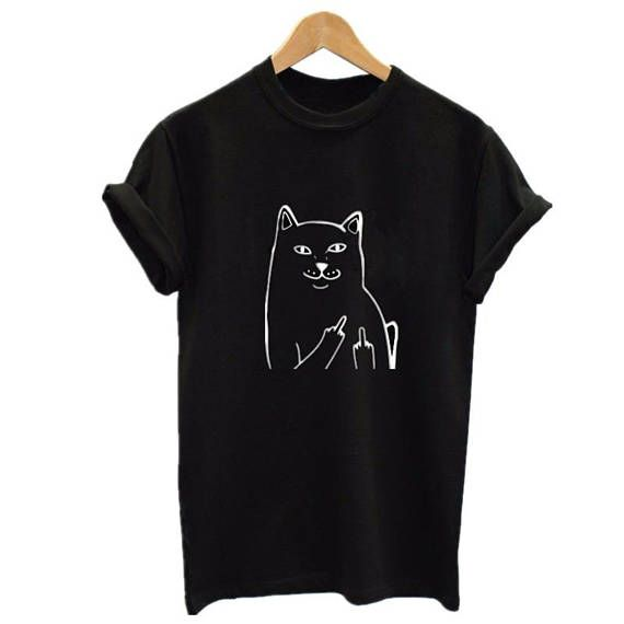 Bad Cat T Shirt Cats T-Shirt Fuck you shirt Cat lovers
