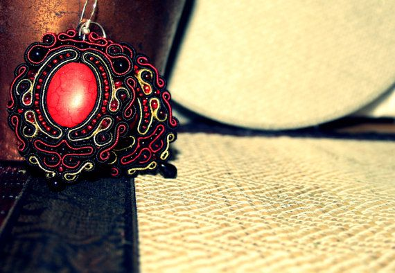 Beautiful Large Red and Black Earrings Soutache by margoterie