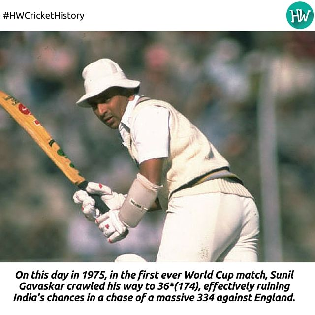 #HWCricketHistory, Sunil Gavaskar added another record to his name, although one which he would not be proud of creating! #Cricket #WorldCup
