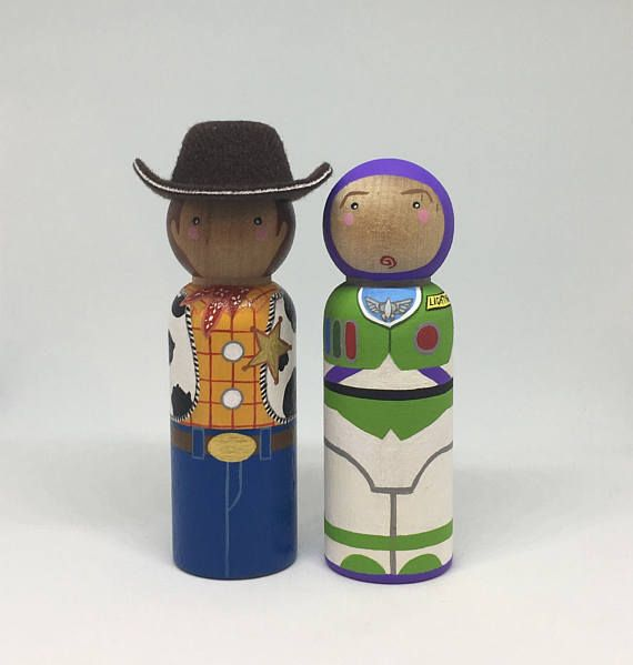 Buzz & Woody Toy Story Inspired Peg Dolls by LittlePegg