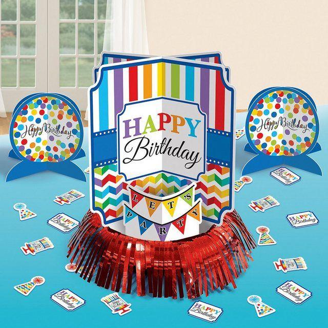 Amscan Tischdeko Set Bright Birthday 23 Tlg 50 Geburtstag