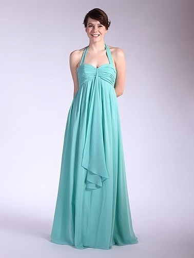 Draped Halter Chiffon Bridesmaid Dress | Plus sizes available! You can even custom dress color with them!
