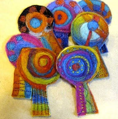 Ro Bruhn - hand felted brooches awaiting some stitching