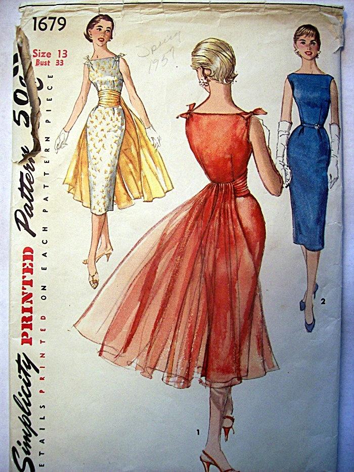 vintage formal dress patterns   Vintage 1950s Party Dress, Sheath, Cocktail Dress Simplicity Sewing ...