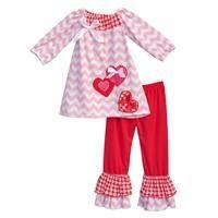 Girls Valentine Ruffle Pants + Chevron Top Set