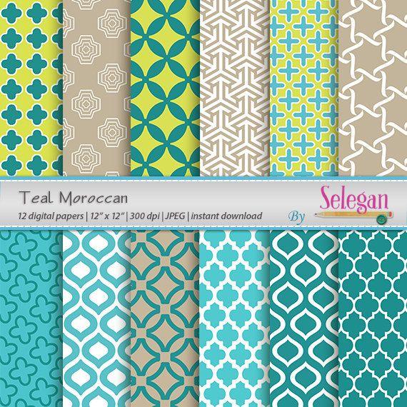 Teal Moroccan, Digital Paper, Scrapbooking, Paper, 12x12, Printable, Pattern, Arabic, Islamic, Middle Eastern, Eid, Background, Download by Selegan on Etsy