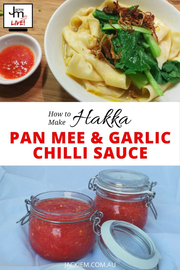 Here's the replay and full recipe to Jackie M LIVE Asian Kitchen broadcast featuring How to Make Hakka Pan Mee and Garlic Chilli Sauce. Don't forget to follow Jackie on www.JackieM.Live to interact with her on her livestreams.