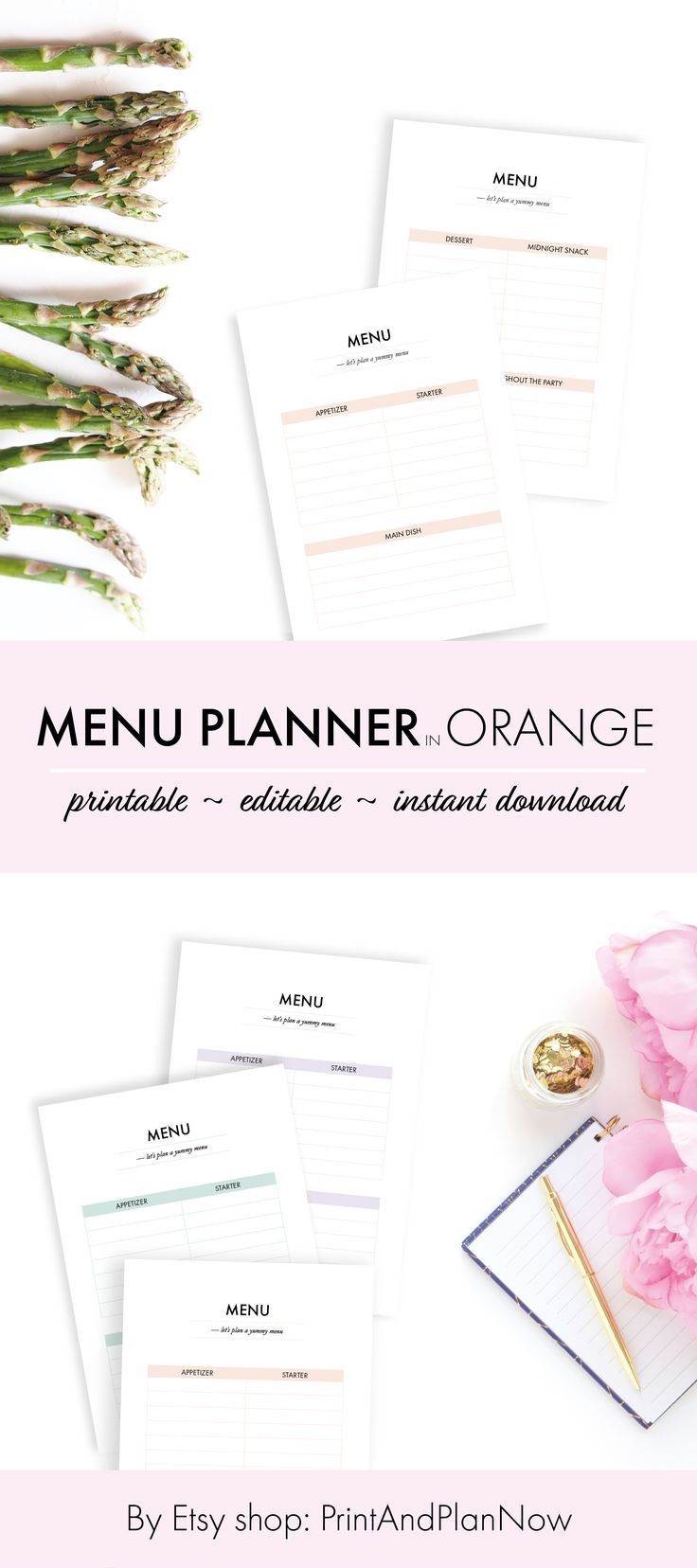menu planner printable pastel orange editable a4 party meal