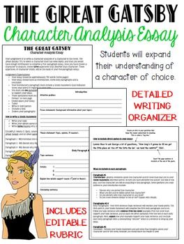 gatsby character analysis essay Character analysis of jay gatsby essaysin his novel the great gatsby, f scott fitzgerald creates a main character that catches the attention of his readers this.