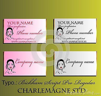 Decorative business card with fictional female portrait.  Ideal for beauty salons and cosmetics. Vector illustration with Gold border.