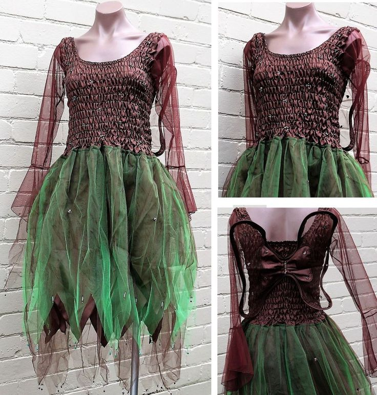 PLUS SIZE Fairy Dress Party Costume with Sleeves & Wings - Brown/Forest Green