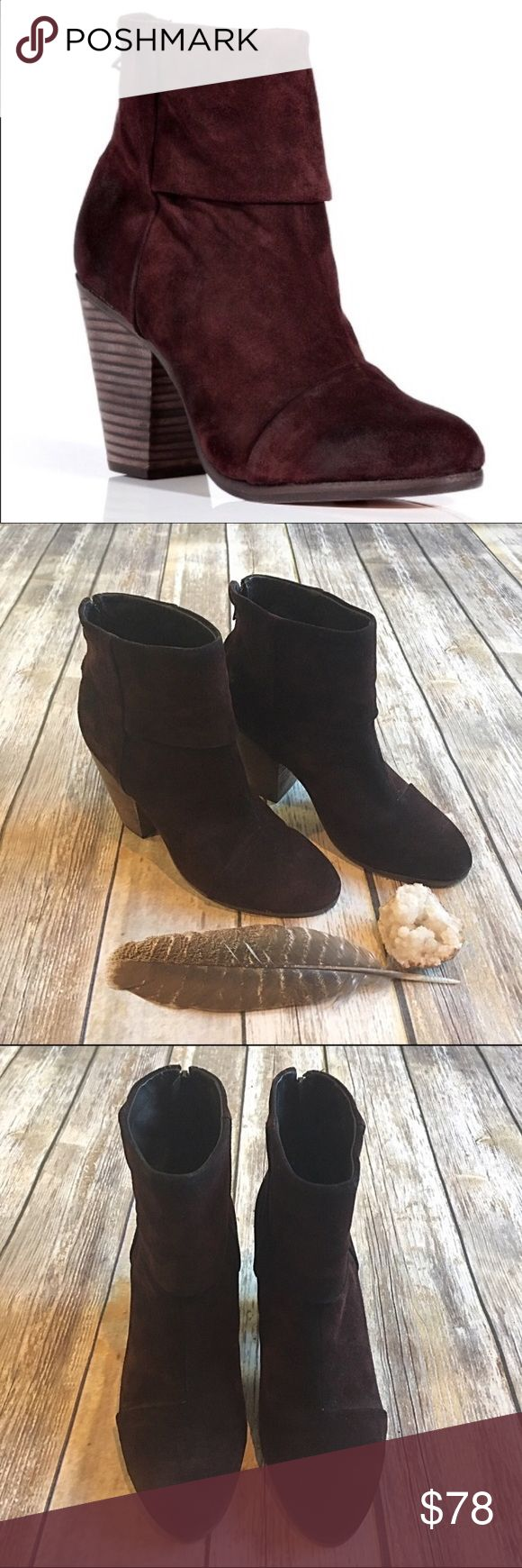 Rag & Bone Newbury 11 Burgundy suede ankle booties Rag & Bone Newbury 41 or 11 burgundy ankle boots. Rich dark burgundy suede ankle boots. Beautiful!!! Boots show signs of wear on sole, but look great and hardly used on the top. Originally $495!!! rag & bone Shoes Ankle Boots & Booties