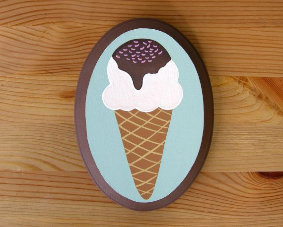 Vanilla Ice Cream Cone  Ice Cream Painting  by OhDeerIllustrations