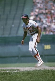 Designated-hitter Frank Robinson #20 of the California Angels takes his lead off firstbase during a game in July, 1973 against the Cleveland Indians at Municipal Stadium in Cleveland, Ohio.