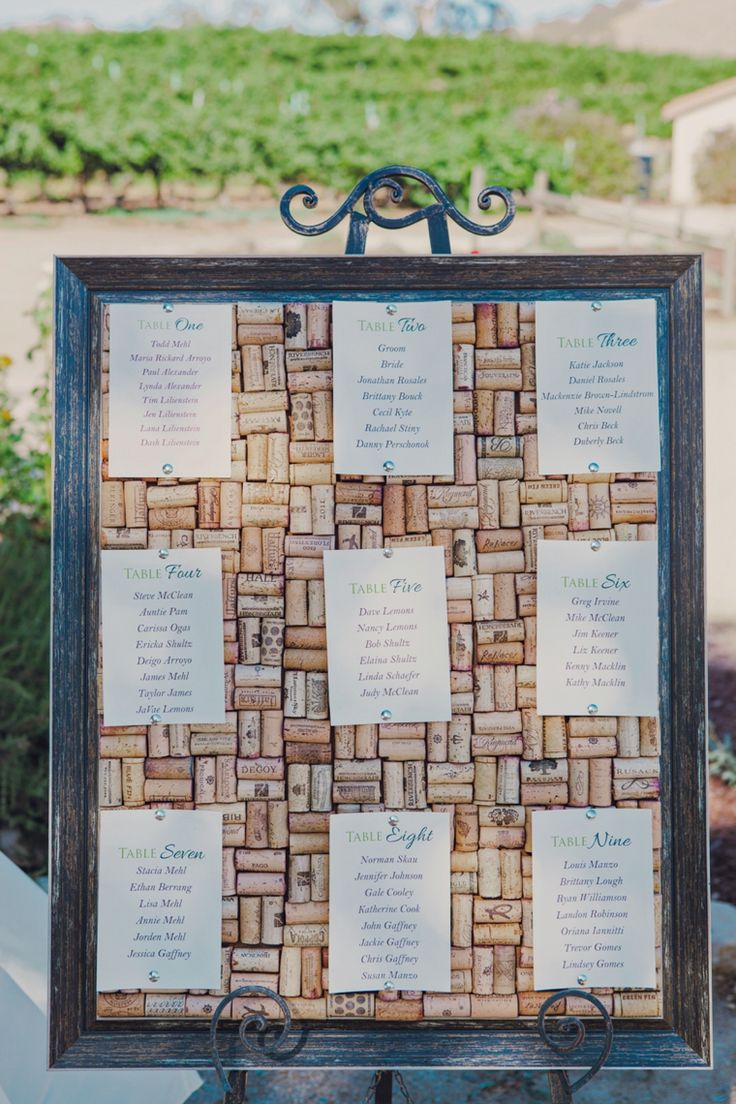 Framed wine cork escort display // Photo by Lindsey Gomes Photography, see more: http://theeverylastdetail.com/mint-orange-california-vineyard-wedding/