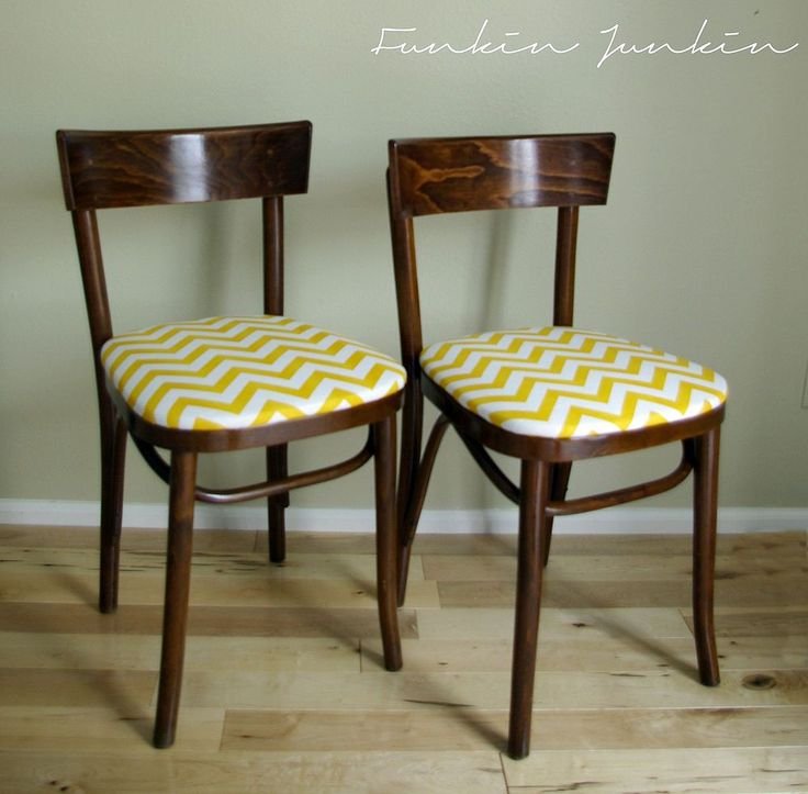 Curbside Find Makeover {Bentwood Chairs With Chevron Seats}