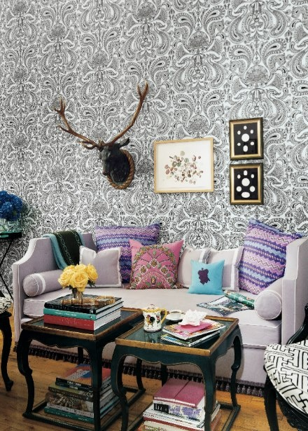 <3: Living Rooms, Pattern, Living Spaces, Color, Interiors Design, Deer Head, Coff Tables, Small Spaces, Domino'S Magazines