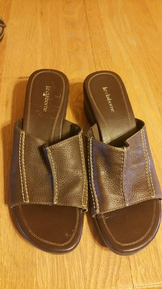 462a547fe35a35 Liz claiborne Slide 6 1 2m Sandals leather upper  fashion  clothing  shoes