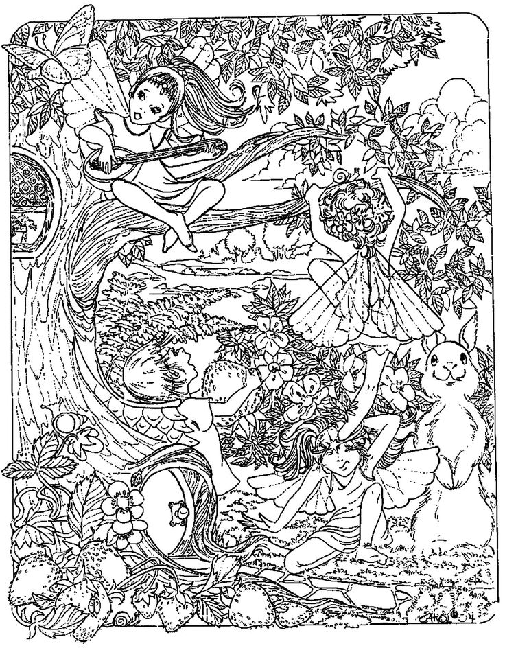 Free Coloring Page Adult Fantasy Child Elves With Tree And
