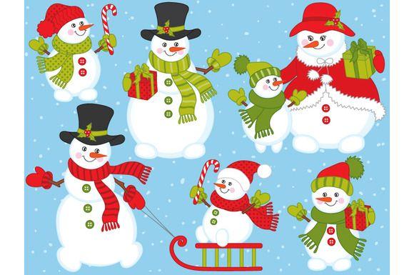 Vector Christmas Snowmen Set by Tanita_B on @creativemarket