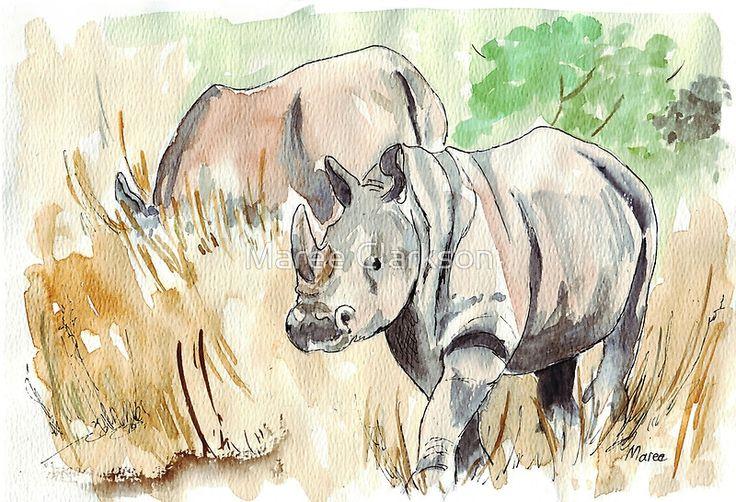 H3. Two White Rhinos (1) Stylo Parker et croquis d'encre noire et colour dans mon Moleskine A4 Folio Nature Journal. La seule façon de sauver un rhinocéros est de sauver l'environnement dans lequel il vit, car il y a une dépendance mutuelle entre lui et des millions d'autres espèces d'animaux et de plantes. – David Attenborough. Ces deux rhinocéros blancs – Ceratotherium simum – pâturaient juste à côté de la clôture, alors je me su...