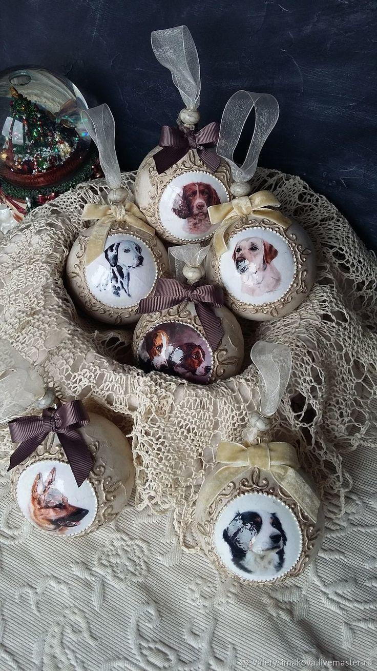 Купить Шарики елочные СОБАКИ в интернет магазине на Ярмарке Мастеров