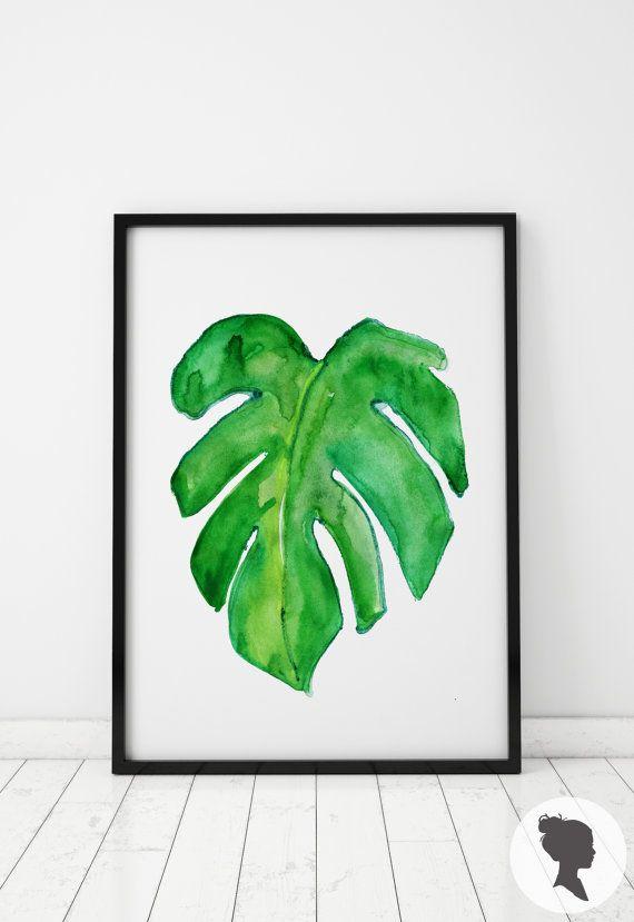 Aquarel Palm blad afdrukken tropische Poster W002 door Livettes