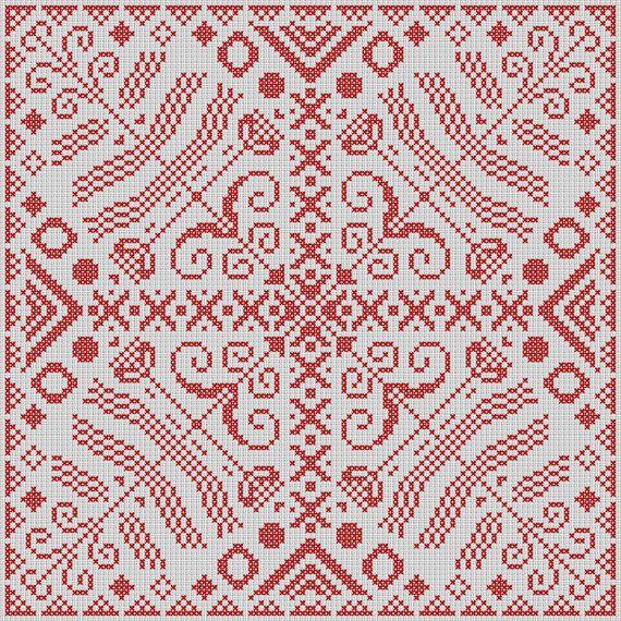 Folk Ornament Cross Stitch Pattern  Ethnic Cross by LoriYarns, $3.45