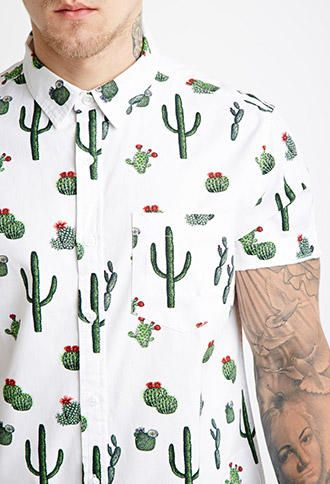 Cactus Print Shirt from Forever 21. Saved to Jushwa<3. Shop more products from Forever 21 on Wanelo.