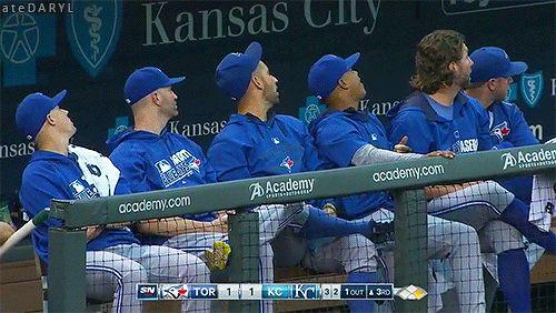The Toronto Blue Jays' starting five: Aaron Sanchez, JA Happ, Marco Estrada, Marcus Stroman, and R.A. Dickey. MLB. Baseball. Pitcher. Canada.