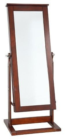 Trend Powell Company Chiara Cheval Mirror Jewelry Wardrobe Walnut Oak Grove Collection