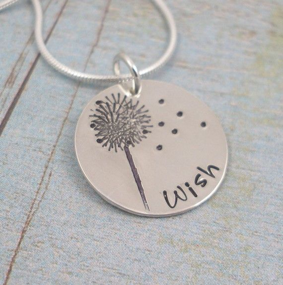 Hand Stamped Necklace - Hand Stamped Sterling Silver Jewelry - Dandelion - WISH