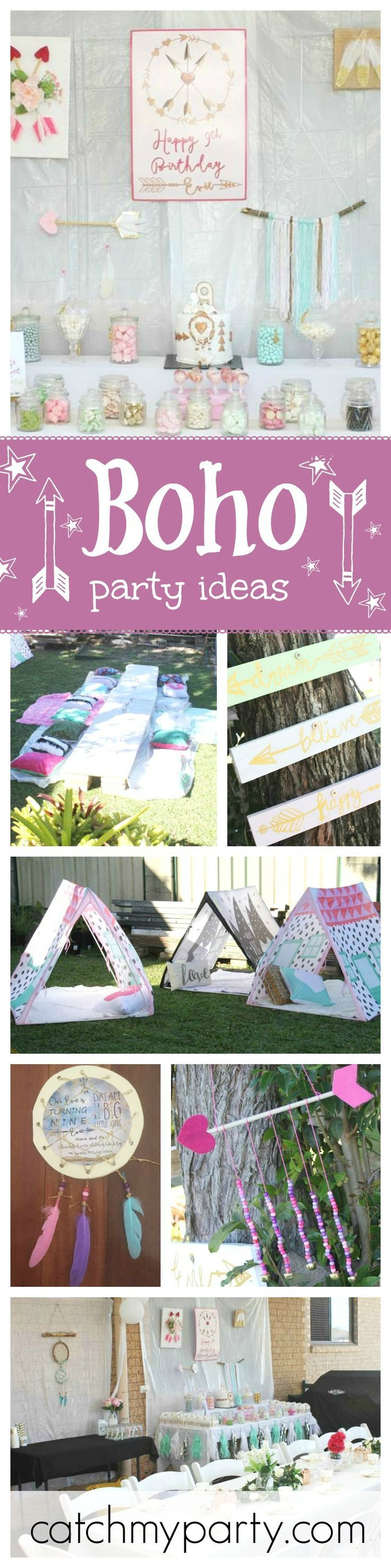 Such a pretty Gypsy/Boho birthday party! So many creative party activities to keep the kids busy. See more party ideas at http://CatchMyParty.com