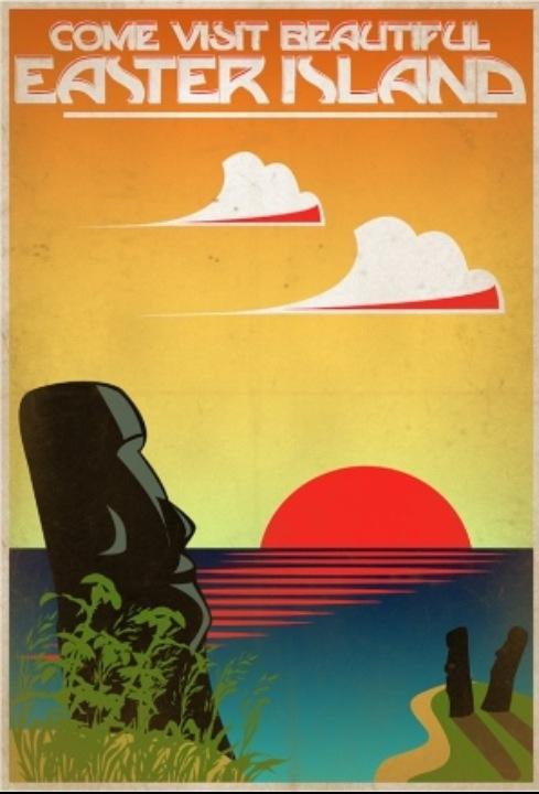"""Easter Island Rapa Nui Chile Afiche promocionando """"Isla de Pascua"""", Chile. (lbk)"""