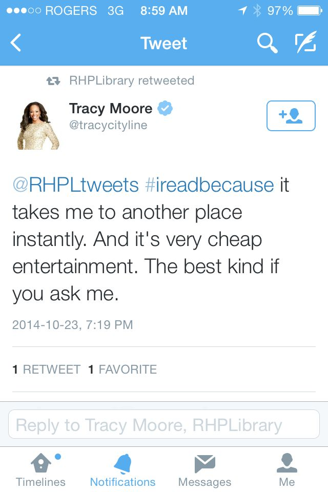 #IReadBecause it takes me to another place instantly. And it's very cheap entertainment. The best kind if you ask me. #TracyMoore #CityLine