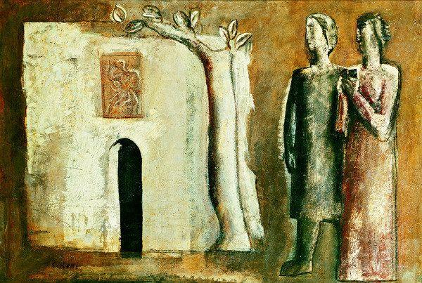 Mario Sironi - Composizione con Albero Casa e Figure