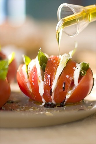 Mozzarella, basil, balsamic vinegar and olive oil caprese tomato