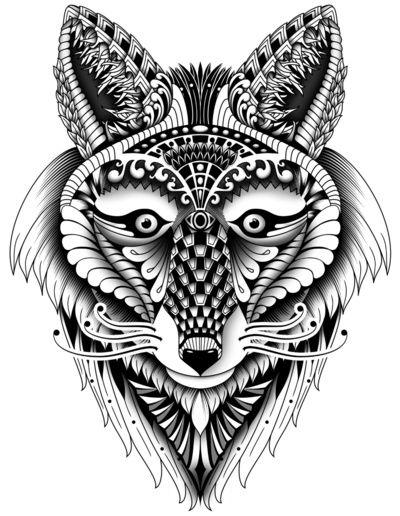Zentangle Inspired Foxy Wolf