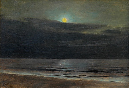 "Lockwood de Forest - MOON SETTING OVER PACIFIC AND BEACH  February 10, 1906  Oil on artist's board  9.5"" x 14.25""  Private Collection"