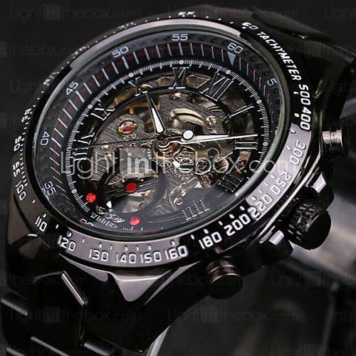 Herren Armbanduhr / Mechanische Uhr Automatikaufzug Transparentes Ziffernblatt Edelstahl Band Schwarz Marke 4993971 2016 – €23.51