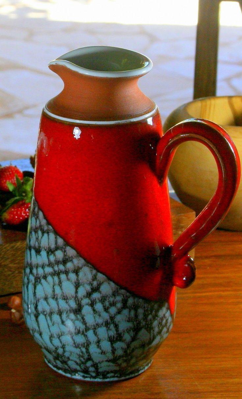 Red Pottery Pitcher Water Pitcher Wheel Thrown Pitcher Ceramic Vase Clay Pitcher Milk Jug Middle Sized Ewer Art Pottery In 2020 Pottery Pitcher Pottery Wheel Thrown Ceramics