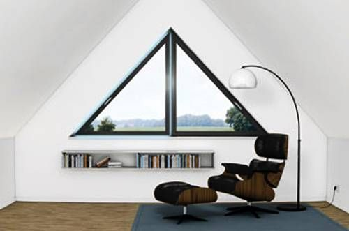 Triangular windows customize modern house exterior and add interest to interior design ideas. Standard rectangular windows blend well into the side of traditional houses, but very often no one notice them. Custom-designed windows, especially in triangular shapes, make house exterior and interior des