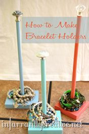 Bracelet display using wood dowels and some old knobs. You could use these for many things i.e. ribbon holders. extra TP in the bathroom, add a clothes pin to hold pictures or a recipes card...the skies the limit!
