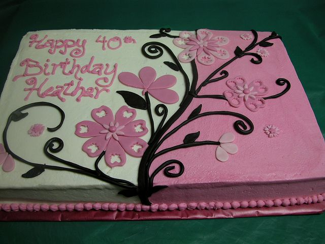 Pink and Black Flowered Sheet cake by GRAMPASSTORE, via Flickr