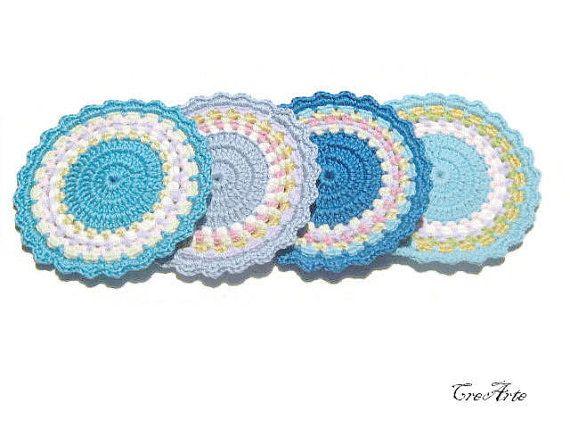 Crochet Blue coasters Crochet colorful coasters by CreArtebyPatty