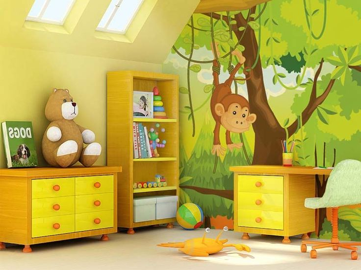 Creative Paint Ideas For Kids Bedroom Green Yellow And Brown Wall ...