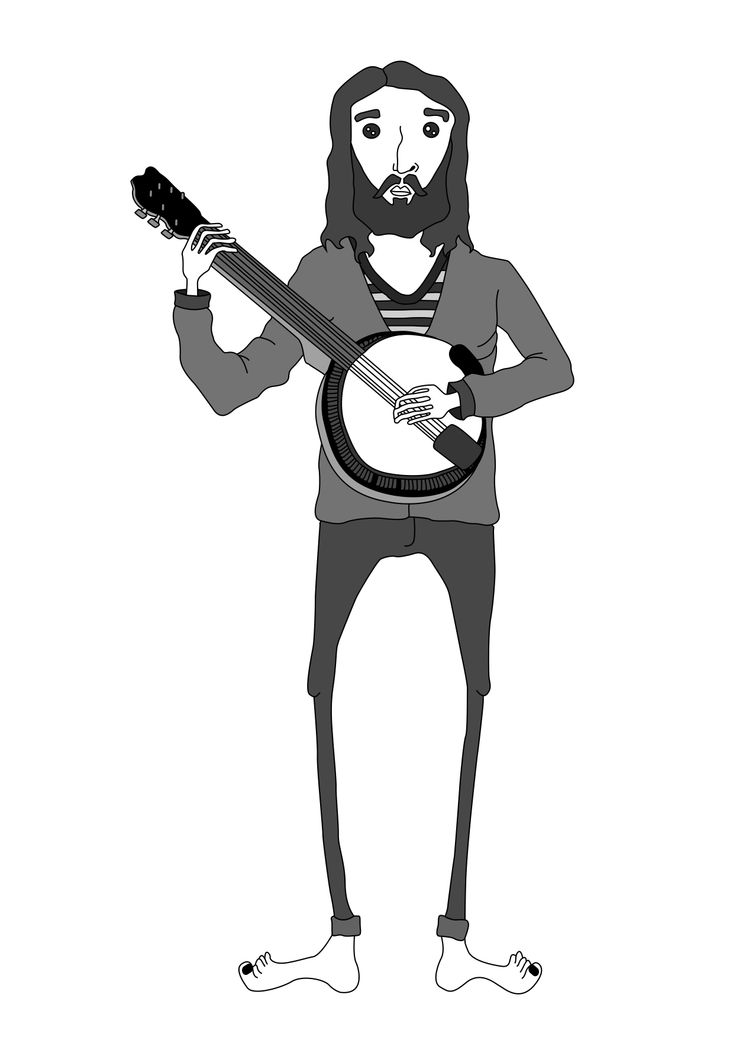 bearded man playing the banjo, personal designs Inspired by Australian's surf and skate crowd