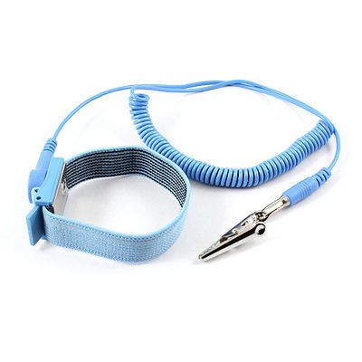 Electronic Alligator Clip Blue 55cm Coil Cable Antistatic Wrist Strap